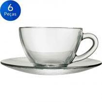 Jogo de Xícaras para Chá com Pires 240ml Diamante 6 peças - Duralex -