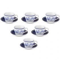Jogo de Xícaras para Chá Porcelana 12 Peças - Casambiente Viena