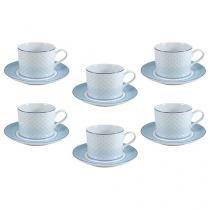 Jogo de Xícaras para Chá Porcelana 12 Peças - Schmidt Maitê