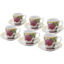 Jogo de Xícaras para Chá Porcelana 6 Peças - Bon Gourmet Rosas