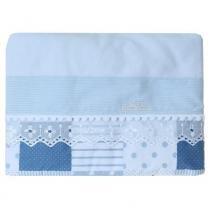 Jogo lençol carrinho bordado ingles azul - ÚNICO - Din don