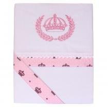 Jogo lençol de berço malha coroa rosa - ÚNICO - Mae bola