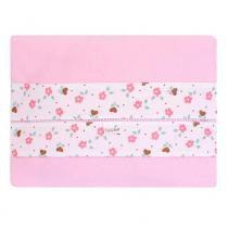 Jogo lençol de carrinho malha rosa barrado floral - ÚNICO - Catavento