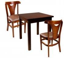Jogo mesa cozinha bar restaurante 2 cadeiras pamplona mel 68 x 68 lisa - Moveis parana