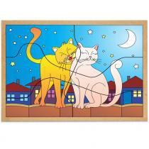 Jogo Quebra-Cabeça Casal Gatos com 6 Peças + 1 Base 1244 - Carlu - Carlu