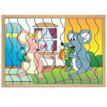 Jogo Quebra-Cabeça Casal Ratos com 12 Peças + 1 Base 1287 - Carlu - Carlu