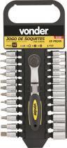"""Jogo soquete sextavado e bits ponteiras encaixe 1/4"""" 4-13mm cromo vanádio com 25 peças suporte - Vonder - Vonder"""