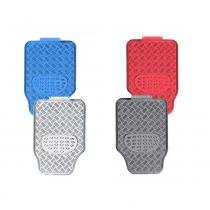 Jogo tapete aluminio cromado azul vermelho carbono tuning 4pç - Cabeça car