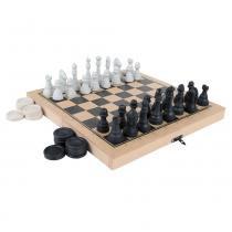Jogo Xadrez e Damas Colegial em MDF com 56 Peças 1176 - Carlu - Carlu