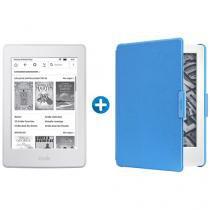 "Kindle 8ª Geração Amazon Tela 6"" 4GB Wi-Fi - Branco + Capa para Kindle 8ª Geração Couro Azul"