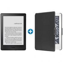 "Kindle 8ª Geração Amazon Tela 6"" 4GB Wi-Fi - Preto + Capa para Kindle 8ª Geração Couro Preto"