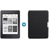"Kindle Paperwhite Amazon Tela 6"" 4GB Wi-Fi - Luz Embutida Preto + Capa para Kindle Preta"