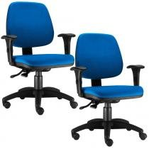 Kit 02 Cadeiras Giratória Job Executiva Ergonomica Tecido Azul - Lymdecor
