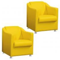 Kit 02 Poltronas Decorativa Tilla para Sala e Recepção Corino Amarelo - DRossi - DRossi