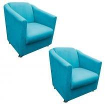 Kit 02 Poltronas Decorativa Tilla para Sala e Recepção Suede Azul Tiffany - DRossi - DRossi