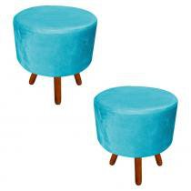 Kit 02 Puffs Banqueta Decorativa Dora Redondo Suede Azul Tiffany - DRossi - DRossi