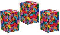 Kit 03 Puffs Decorativo Suede Romero Brito - Nay Estofados