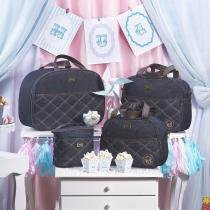 Kit 04 Bolsas Maternidade Versinho Jeans Azul Marinho - Hug Baby -