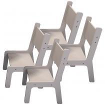 Kit 04 Cadeiras Estudo Infantil Kids Branco - Lymdecor - Lymdecor