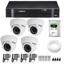 Kit 04 câmeras de segurança dome hd 720p intelbras vmd 1010g3 + dvr intelbras multi hd + hd 1tb + acessórios - Intelbras