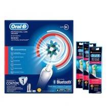 Kit 1 Escova Elétrica Oral-B Professional Care 5000 D34 110V +  Refil Escova Elétrica Oral-B Floss A - Oral b