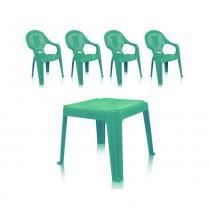 Kit 1 Mesa 45x45cm e 4 Cadeiras Decoradas Teddy Infantil Verde - ANTARES -
