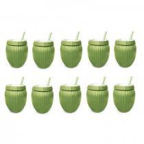 Kit 10 Copos Formato De Coco Verde Com Canudo 800 Ml Injetemp -