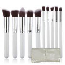Kit 10 Pincéis Kabuki para maquiagem bolsa branca CBR04379 - Commerce brasil
