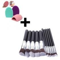 Kit 10 Pinceis Pincel Maquiagem Kabuki Preto + Esponja de Silicone para Limpeza de Pinceis - Importado