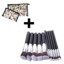 Kit 10 Pinceis Pincel Maquiagem Kabuki Preto + Necessaire Tamanho P + Necessaire Tamanho G - Importado