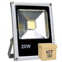 Kit 10 Refletor Holofote LED 20w Branco Frio - Iluminim led
