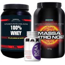 Kit 100 Whey 900g - Morango Nitech Nutrition + Massa Nitro NO2 900g Morango Probiótica + BCAA 2400 100 Cápsulas - Max Titanium - Nitech Nutrition