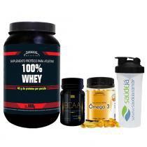 Kit 100 Whey Nitech Morango + Ômega 3 Nitech + Bcaa Nitech + Coqueteleira Transparente E Preta Saúdejá - Nitech Nutrition