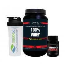Kit 100 Whey Protein Morango + Super Turbo Force + Coqueteleira Saúdejá - Nitech Nutrition