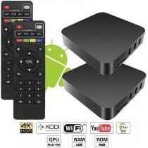 Kit 2 Aparelhos Conversor Smart Box Tv Quad Core 8Gb 4K Android 7.1 3D HD Hdmi Usb Wifi - Fy