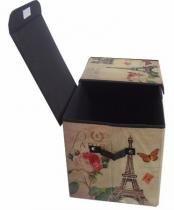 Kit 2 Bau Dobravel Porta Treco Vintage Retro Para Guardar Volume Estampado Torre Eiffel - Braslu