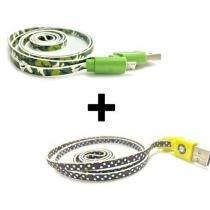 Kit 2 cabos de dados verde camuflado + amarelo bolinha para celular v8 - Importado