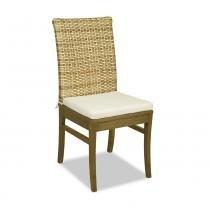 Kit 2 Cadeiras em Madeira Maciça com Tecido Suede Liso e Linho Ione - Castanho Oregon - CasaTema