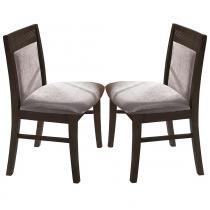 Kit 2 Cadeiras Estofadas Nobre - Design Moderno e Detalhe Frisado - Madeira Maciça - Capuccino - Seiva