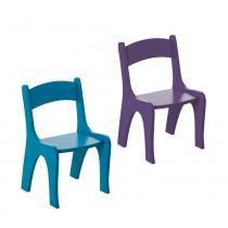 Kit 2 Cadeiras Infantis em MDF - Pintura em Laca  Azul/Roxo - Ativa