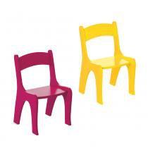 Kit 2 Cadeiras Infantis em MDF - Pintura em Laca  Rosa/Amarelo - Ativa