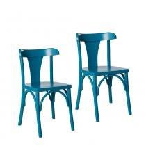 Kit 2 Cadeiras Londres Estilo Clássico em Madeira Maciça - Pintura em Laca Azul - Ativa