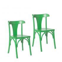 Kit 2 Cadeiras Londres Estilo Clássico em Madeira Maciça - Pintura em Laca Verde - Ativa