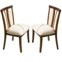 Kit 2 Cadeiras p/ Sala de Jantar Berlim c/ Madeira Maciça Eucalipto e Lâmina Carvalho - Castanho - Seiva