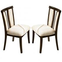 Kit 2 Cadeiras p/ Sala de Jantar Berlim c/ Madeira Maciça Eucalipto Lâmina de Carvalho - Capuccino - Seiva