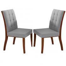 Kit 2 Cadeiras para Sala de Jantar Harmony Madeira Maciça com Lâmina de Jequitibá - Castanho - Seiva