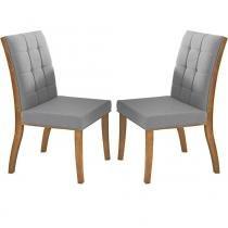 Kit 2 Cadeiras para Sala de Jantar Harmony Madeira Maciça com Lâmina de Jequitibá - Champagne - Seiva
