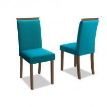 Kit 2 Cadeiras para Sala de Jantar Paloma Castanho/Veludo Azul Turqueza - New Ceval -