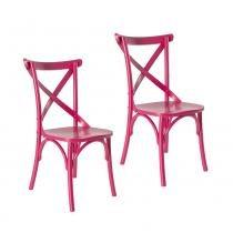 Kit 2 Cadeiras Paris Estilo Vintage em Madeira Maciça - Pintura Laca Rosa Pink - Ativa