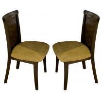 Kit 2 Cadeiras Viena p/ Sala de Jantar com Encosto Trançado - Madeira Eucalipto - Capuccino - Seiva